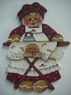 HP~~Gingerbread & Ironing Board for your Laundry Room  ~~ Lg.  Fridge MAGNET