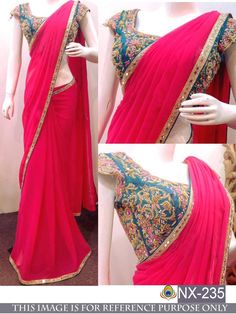 Online Ethnic wear shopping for Indian women. Shopping of sarees, salwar suits & Lehengas. Free Delivery in India. Chiffon Saree Party Wear, Fancy Sarees Party Wear, Saree Designs Party Wear, Party Sarees, Party Wear Indian Dresses, Saree Blouse Patterns, Saree Blouse Designs, Kurta Designs, Dress Designs