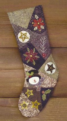 Primitive Folk Art Wool Applique Stocking Pattern:  CRAZY FOR CHRISTMAS. $8.75, via Etsy.
