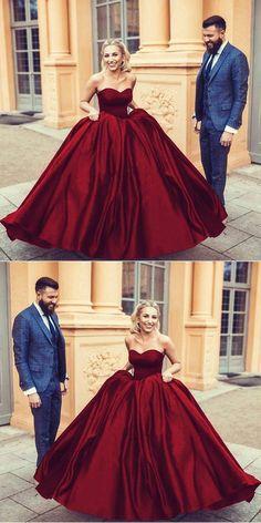 dark red wedding dresses,satin ball gown wedding dress,sweetheart prom dress ball gowns,maroon wedding dress,burgundy wedding dress,wedding gowns 2018 #weddingdresses #vintageweddingdresses #redweddingdresses #satinweddingdresses