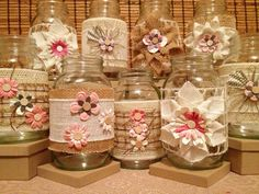Country Chic Handmade Burlap Jute Inspired Mason Jars (Set of 6) // Wedding Centerpiece on Etsy, $25.00