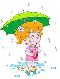 A Cute Girl with Green Umbrella in Heavy Rain Cartoon Clipart Free Cartoon Cartoon, Rain Cartoon, Cartoon Drawings, Craft Activities For Kids, Preschool Activities, Credit Card Images, School Murals, Art Drawings For Kids, Clip Art