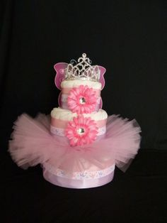 Princess Tutu Baby Diaper Cake by mamabijou on Etsy, $80.00
