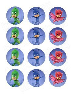 PJ Masks party decoration edible cupcake images cupcake toppers