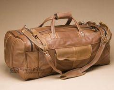 "Cowhide Leather Duffle Bag 22"""" - Saddle (b456)"