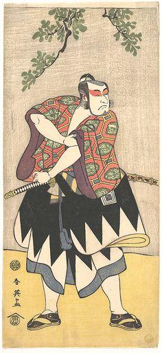 The Second Ichikawa Monnosuke as a Man Dressed in a Kimono  Katsukawa Shun'ei  (Japanese, 1762–1819)  Period: Edo period (1615–1868) Date: ca. 1793 Culture: Japan Medium: Polychrome woodblock print; ink and color on paper