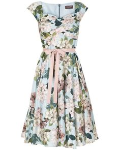 Dresses | Blue Adele Blossom Fit And Flare Dress | Phase Eight