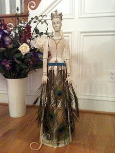 """SantosCageDoll.com — 31"""" Whitewashed Santos Cage Doll  CREATE THIS FEATHER SKIRT ON RIBBON....FOR MY CAGE DOLL...BEAUTIFUL"""
