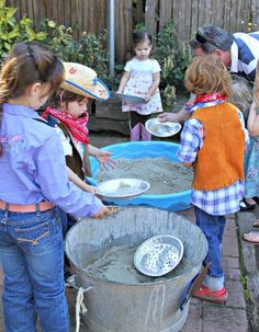 "Western Party Games - hunting for ""gold nuggets""! Great idea for a "" Western Theme or Gold Rush Theme"" birthday party.really great for boys! - instead of using rocks painted gold buy gold coins or ferrero rocher chocolates Western Party Games, Western Parties, Western Theme, Cowboy Party Games, Cowboy Theme, Indian Birthday Parties, Cowboy Birthday Party, Birthday Party Themes, Birthday Activities"