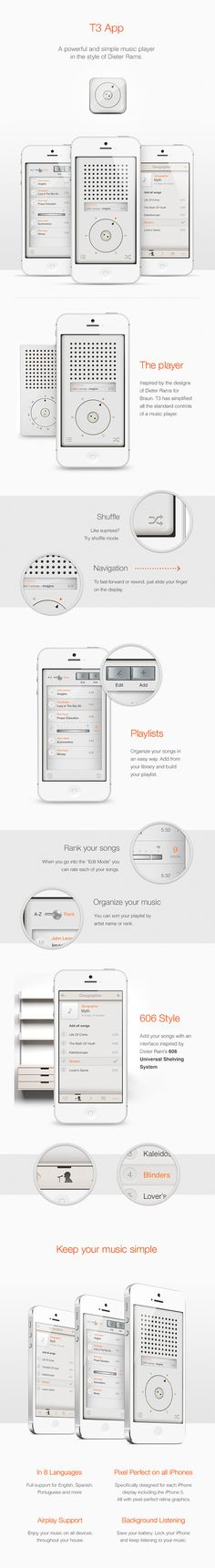 Dieter Rams Style Music App: T3 *** Influenced by the braun radio designs of dieter rams, the 'T3 music app' for iPhone integrates simplified controls and navigation features to minimize clutter and chaos in the device's song library. the browsing interface uses styling from the 606 universal shelving system - where playlists can be organized alphabetically or by manual ranking - allowing users to sort and customize music based on preference.