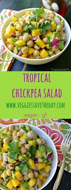 Tropical Chickpea Salad is great for lunches or potlucks. It's healthy, low-fat, and full of nutrients from mangoes and avocados. Get this recipe and more like this when you visit http://www.veggiessavetheday.com, or pin and save for later! vegan vegetari