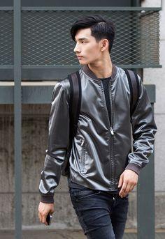 Shiny grey jacket