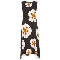 Women's Lafayette 148 New York Romona Floral Fluid Cloth Dress (16.090 RUB) ❤ liked on Polyvore featuring dresses, floral print dress, flower design dresses, floral printed dress, loose fit dress and floral asymmetrical dress