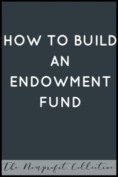 HOW TO BUILD AN ENDOWMENT FUND. STARTING A NONPROFIT ORGANIZATION. NONPROFIT ADVICE.