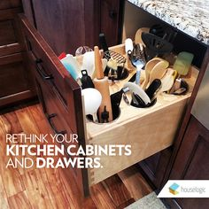 Discover smarter ways to use your kitchen cabinets and spice drawers with these ideas, products, and tips to make the most of your kitchen space. Used Kitchen Cabinets, Kitchen Cabinet Drawers, Kitchen Drawer Organization, New Kitchen, Kitchen Storage, Kitchen Ideas, Drawer Storage, Utensil Storage, Kitchen Utensils
