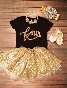 Number FOUR toddler birthday shirt with gold sparkle