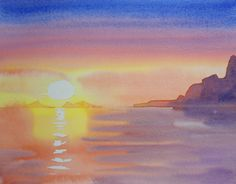 Sunset: watercolor video lesson by Gilly Marklew available now on ArtTutor