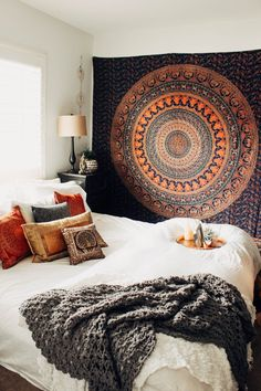 Lady Scorpio | @Ladyscorpio101 ☽☽ ladyscorpio101.com  ☆  Perfect Bedroom Decor for the Hippie at heart  ♡  These Mandala Tapestry decorations are perfect for Christmas and the Holidays for your home | Navy Orange Turquoise Blue & White with Canopy & Moon Phase Wall Hanging