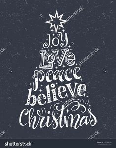 Vector Christmas tree of holidays lettering on texture background. Joy, love, peace, believe Christmas text for invitation and greeting card, prints and posters. Hand drawn vintage christmas