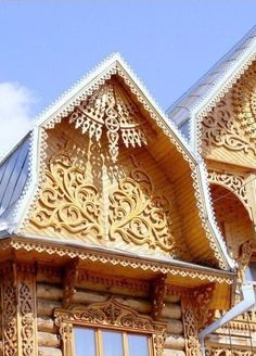 Russian wooden house with carving decorations. #Russian #wooden #house