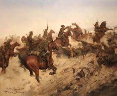 Ferrer-Dalmau, la carga del Regimiento de Caballería Alcántara nº 14, Dar-Drius Marruecos, 23 de Julio de 1921