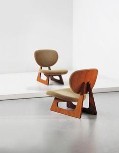Daisaku Choh and Junzo Sakakura; #5016 Teak-Veneered Plywood Lounge Chairs for Tendo Mokko, 1957.