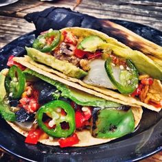 Camping Recipe | Apple Chicken Sausage Tacos with Avocado, Mushrooms, Green and Red Bell Peppers, Vidalia Onions, Jalapeno Pepper Jelly and Peach-Mango Salsa | Gluten Free & Mostly Dairy Free