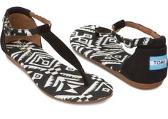 TOMS Black Woven Women's Playa Sandals hero