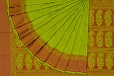 Bright Green Soft Silk Saree With Pink Thread Work SS975