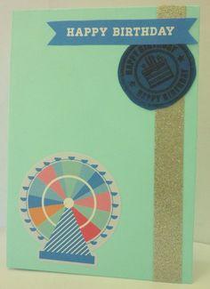 Handmade birthday card, craft, blue