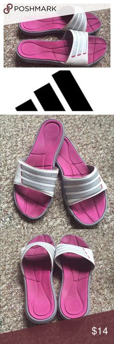 Adidas flip flops These pink and silver flops still have something to offer. There are signs of wear, captured in the last pic. The size on them is 7, but I feel they run large (my feet are also narrow) so I think they could fit an 8 too. Please ask any questions you might have. Adidas Shoes Sandals