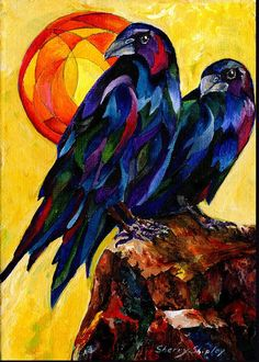 Birds Greeting Card featuring the painting Raven Pair by Sherry Shipley Crow Art, Bird Art, Crow Painting, Painting & Drawing, Raven Bird, Crows Ravens, Architecture Tattoo, Funny Art, Beautiful Birds