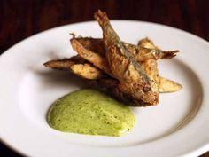 Deep fried sprats with wild garlic aioli - Recipes // Mark Hix