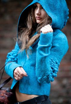 Felting Coat -  little blue riding hood you sure are looking good!