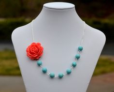 Coral Rose and Turquoise Beaded Chunky Asymmetrical by RusticGem, $44.00