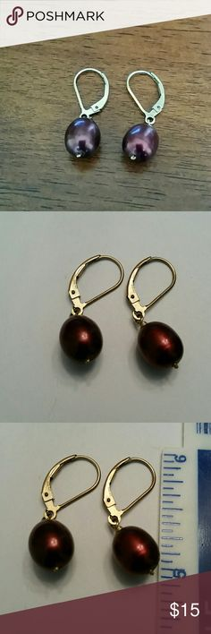 Pearl drop earrings Beautiful burgundy or wine colored pearl earrings.  Total length is approx an inch. Pearl is a but more than 1/4 inch Jewelry Earrings