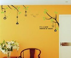 Wall Decals - YYone Birds and Nests on Branches of Trees Its a word inspired by nature Quotes Wall Sticker -