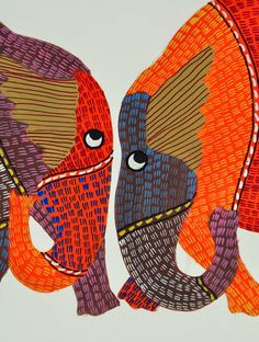 Elephants (Gond art) - Gond art is a form of tribal art developed by the Gonds of central India.