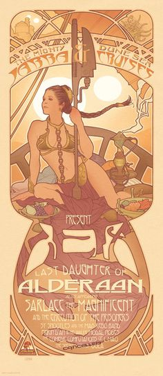 Alphonse Mucha would approve.  Art Nouveau, Star Wars, Leia.