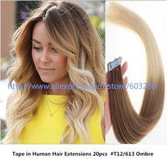 Meilleur Ombre Cheveux Style pour 2017 Ruban dans les Cheveux Humains Extensions Vision Positive de Jolie Lumière Brun au Blond 16-24 pouce 20 pcs