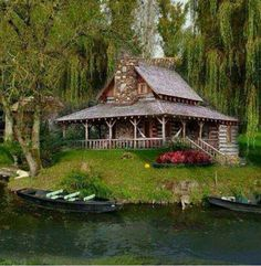 Log cabin with wrap around porch on the lake. Ideas for a pyrography. make the lake an Aussie river.the cabin more rustic. Lake Cabins, Cabins And Cottages, Small Cabins, Little Cabin, Log Cabin Homes, Cozy Cabin, Cabins In The Woods, Cabin On The Lake, My Dream Home