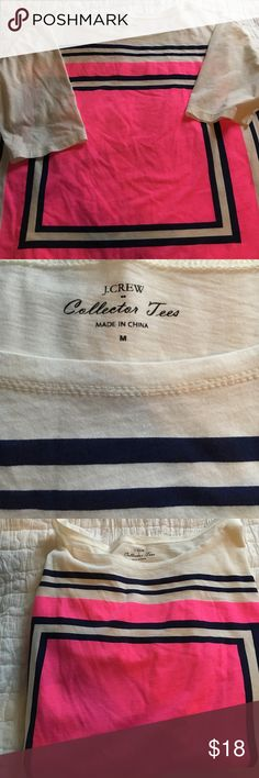 J Crew collection tee 100% cotton novelty tee shirt off white colored shirt with hot pink and navy designs . Like new J. Crew Tops Tees - Short Sleeve