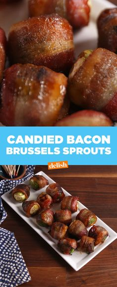 Candied Bacon Brussels sprouts - LAZ notes - These were AMAZING! I served them as an appetizer for Christmas Eve and everyone loved them - even those who don't like Brussels sprouts. Bacon Appetizers, Appetizer Recipes, Appetizer Ideas, Holiday Appetizers, Snack Recipes, Bacon Recipes, Cooking Recipes, Candied Bacon, Bacon Bacon