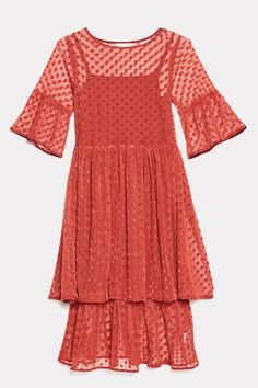 8d2217fe57 Gorman Dress / Constellations dress in rust brown. Made of layered mesh  with frill sleeves