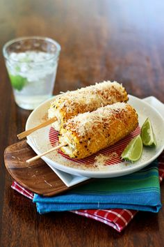 Grilled #Corn with Cayenne Pepper, #Lime, #Butter, #Parmesan, & Salt & Pepper.