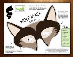 Childrens Halloween Mask Party Mask Wolf Printable by theRasilisk