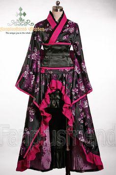 Fanplusfriend Gothic Wa Lolita Wine Peony Kimono Set - Plus Sized Kimono Noir, Mode Kimono, Moda Lolita, Lolita Mode, Estilo Lolita, Kimono Fashion, Lolita Fashion, Kimono Dress, Dress Up