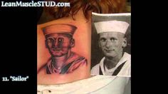 Portrait tattoos - make sure you pick a good artist. This one obviously has a thing against sailors. Tatoo Fail, Funny Tattoos Fails, Epic Tattoo, Worst Tattoos, Amazing Tattoos, Really Bad Tattoos, Black People Tattoos, Horrible Tattoos, Funny Black People