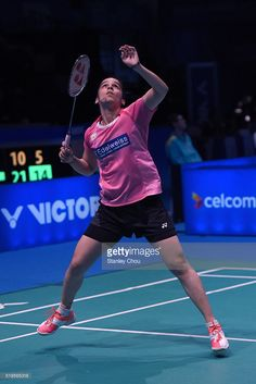 Saina Nehwal of India returns to Bae Yuoon Ju of South Korea during day three of the Women Singles during the BWF World Super Series Badminton Malaysia Open at Stadium Malawati on April 7, 2016 in Shah Alam, Malaysia.