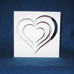 Hand Cut Valentines Day Heart Card    Perfect to send to your special valentine!    Each card is made out of Pure White cardstock and